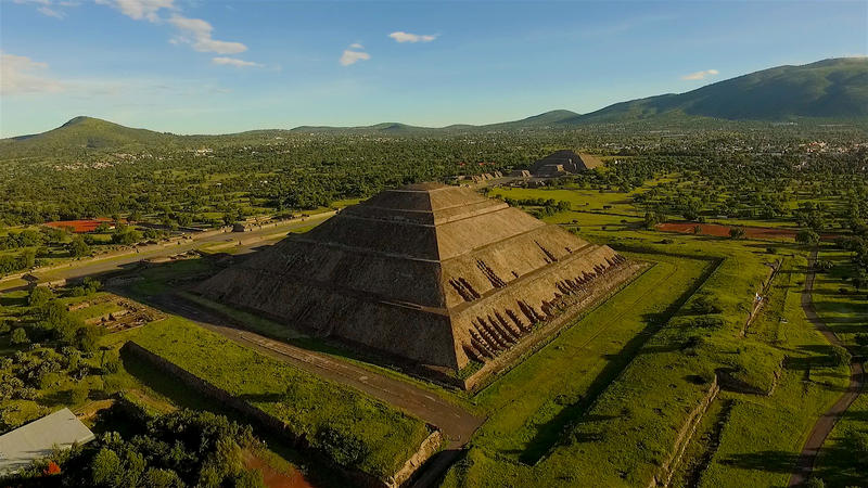 Teotihuacan's Pyramid of the Sun, one of the largest anywhere on earth, covers an area of two football fields - larger than the base at the Great Pyramid in Egypt. Photo courtesy Providence Pictures
