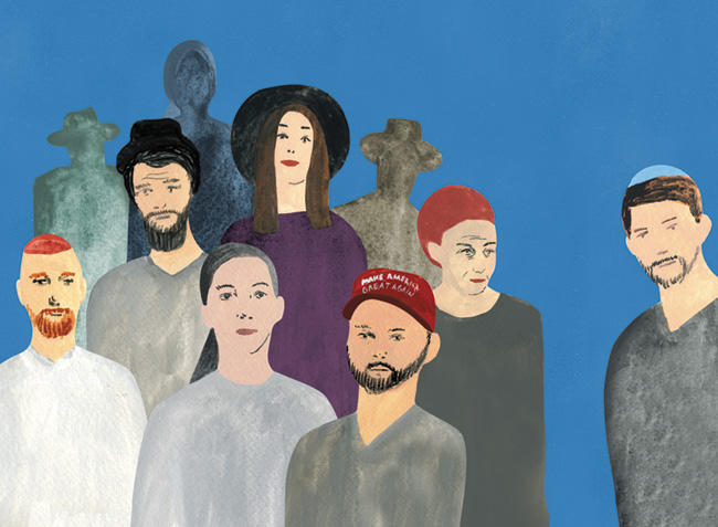 Illustration of a group of Jewish men and women, one wearing a MAGA hat, and a solitary man wearing a blue yamaka by standing himself