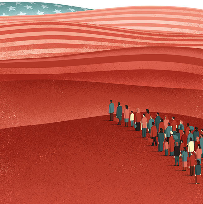 Illustration of immigrants walking over landscape resembling US flag