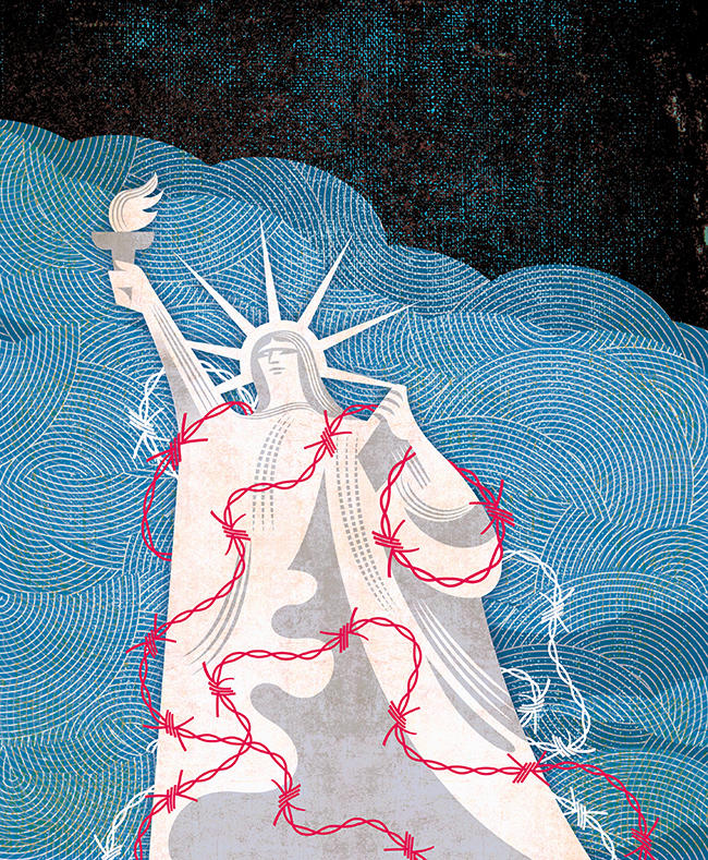 Illustration of the Statue of Liberty with barbed wire draped over it