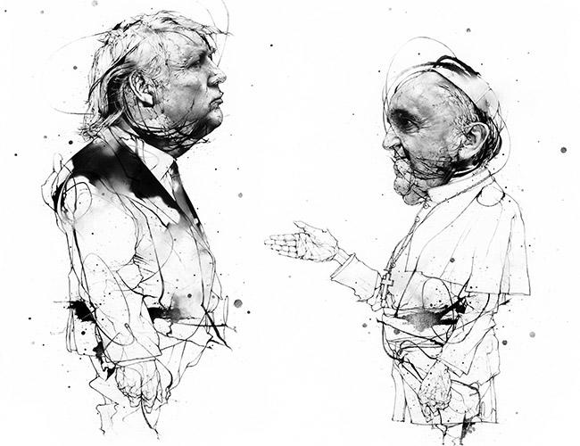 Trump and the Pope illustration by Andrew Zbihlyj