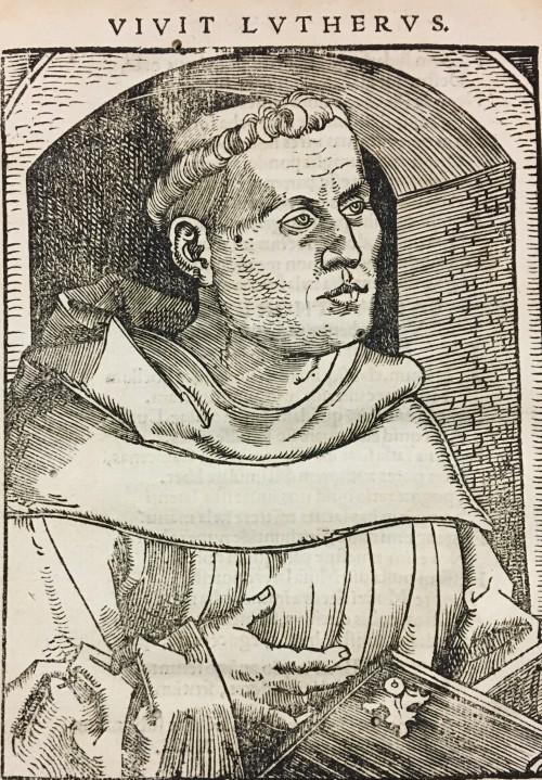 16th century woodcut portrait of Martin Luther as a young monk