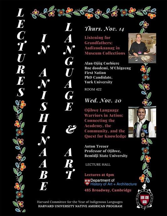Poster of Lectures in Anishinaabe Language & Art