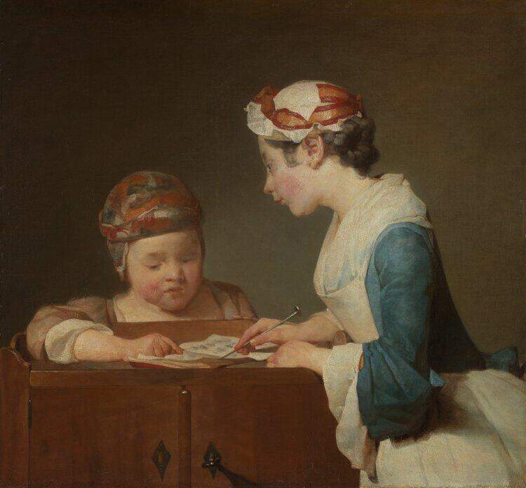 Jean Siméon Chardin, The Young Schoolmistress, 1737, oil on canvas, 61.6 x 66.7 cm. Courtesy the National Gallery.