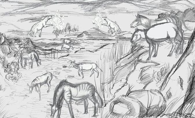 Black and white drawing of horses grazing in a field.