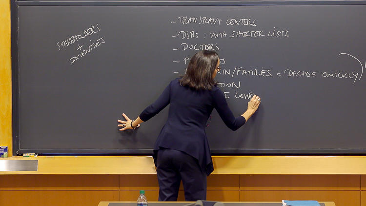 Professor Battilana writing on a chalkboard