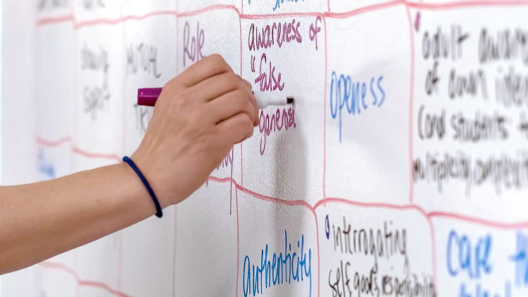 "Close up of hand writing ""awareness of 'false general--' with a purple white board marker in a box on a white board wall. Other boxes with writing in them surround it."