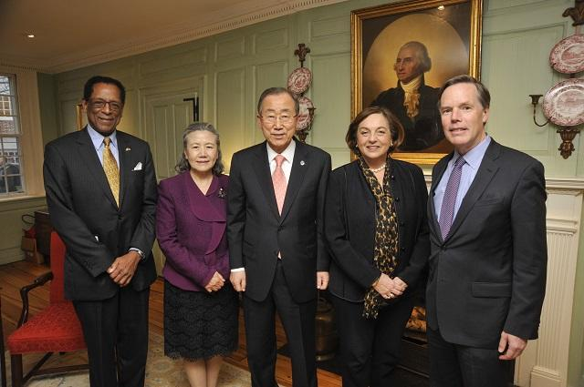 The Secretary General of the United Nations, Ban Ki-Moon, is greeted at Wadsworth House by the University Marshal and two professors (December 2014)