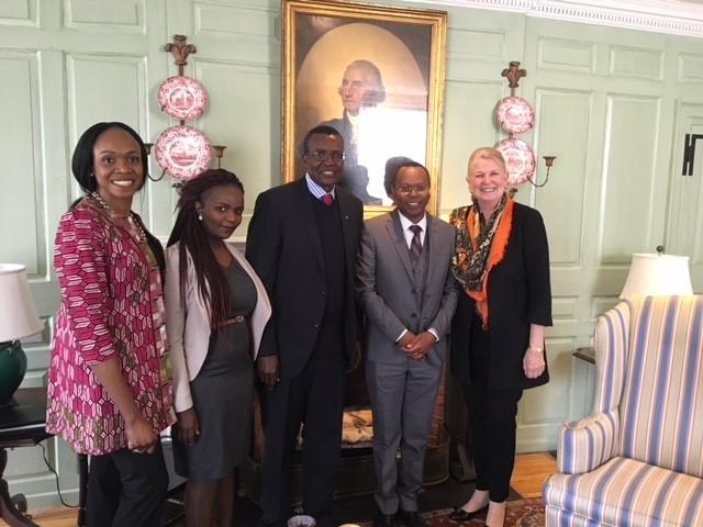 Justice Maraga (center) and Dr. Margot Gill (far right) in the Wadsworth House parlor