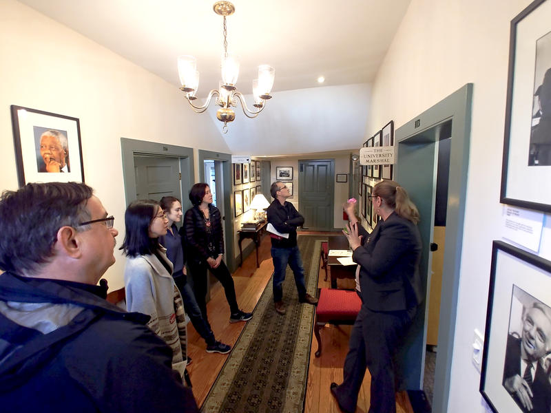 Tara Benedict welcomes a group into Wadsworth House