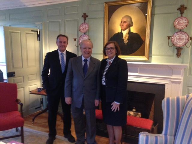 Ambassador Amaral (center) with the Vice Provost and the Marshal in the Wadsworth House Parlor