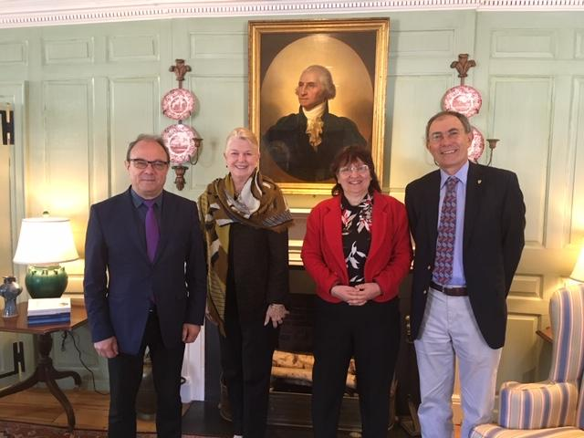 Prof. Julian Revalski, Dr. Margot Gill, Prof. Evdokia Pasheva, and Prof. Dimitar Sasselov in the Wadsworth House parlor