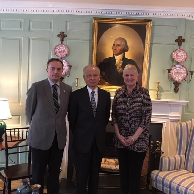 Vice Provost Mark Elliott, Ambassador Cui, and University Marshall Margot Gill in the Wadsworth House parlor
