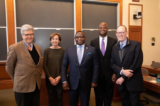 President Bio with Law School seminar panelists Fernando Reimers, Margaret McMillan, Raymond Atuguba, and Paul Farmer