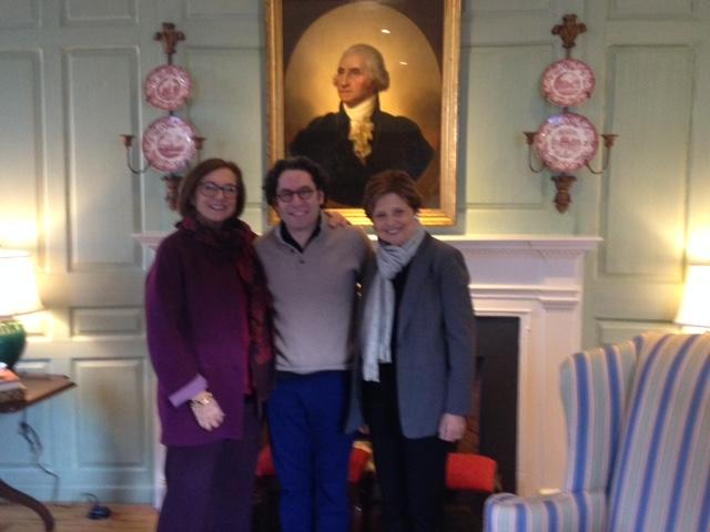 The University Marshal with Gustavo Dudamel and Deborah Borda in the Wadsworth House Parlor