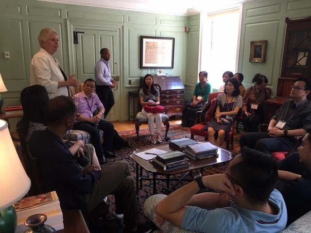 Margot Gill talking with the United Board fellows at Wadsworth House.