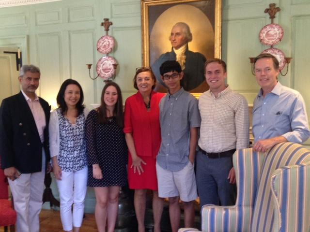 Dr. Jaishankar in the Wadsworth House Parlor with his family, Jackie O'Neill, Jonathan Jeffrey, and Professor Burns