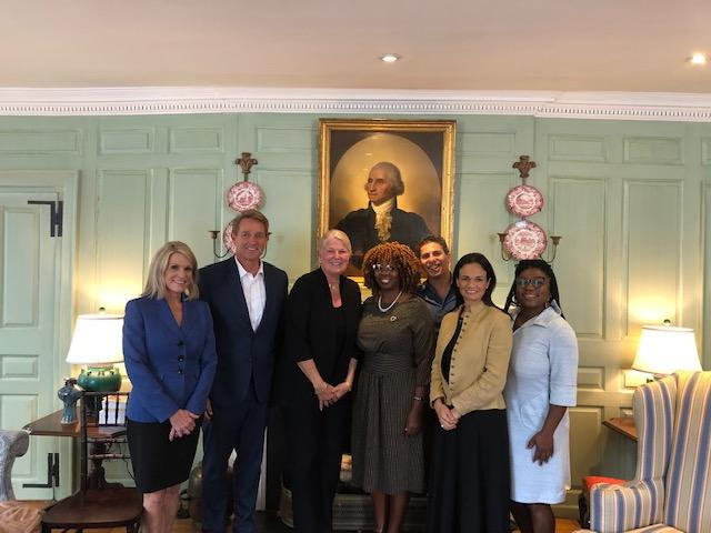 The fall 2019 IOP Fellows with Margot Gill in the Wadsworth House parlor.