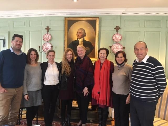Israeli Council for Higher Education delegation in the Wadsworth House parlor with Margot Gill