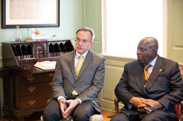 Vice Provost Mark Elliott and Ambassador Baffour Adjei-Awuah in conversation in the Wadsworth House parlor