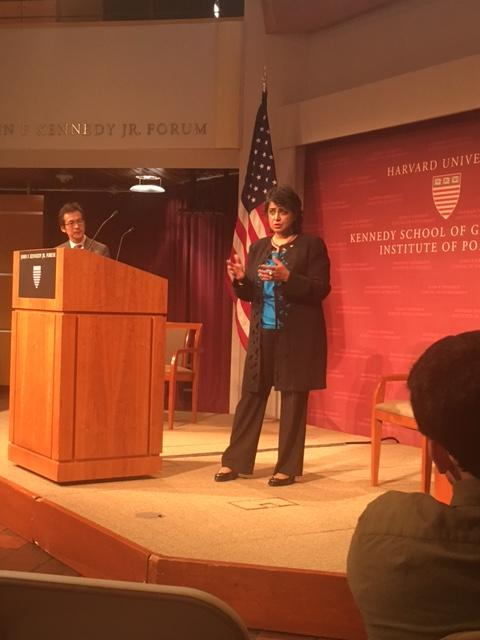 President Gurib-Fakim answers a question following her address in the JFK, Jr. Forum
