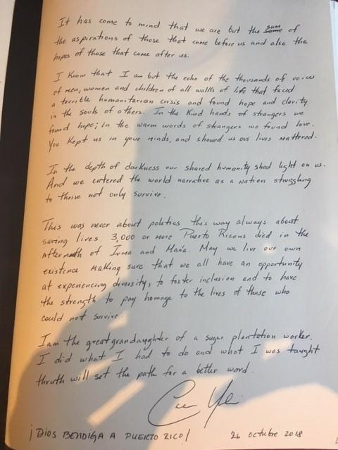 Mayor Cruz's message in the university guest book