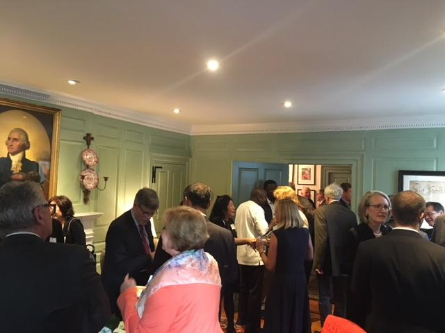Guests mingling in the Wadsworth House parlor