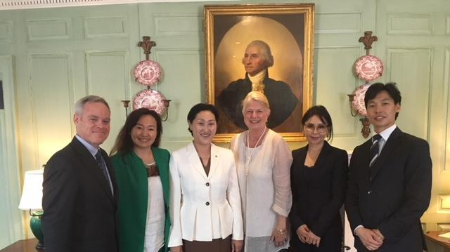 Margot Gill with Mongolian delegation in the Wadsworth House parlor