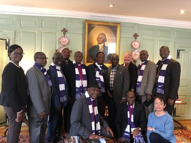Most Rev. Okoh and his delegation with Prof. Jacob Olupona and University Marshal Margot Gill at Wadsworth House