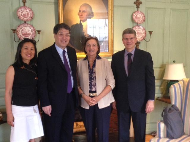 Honxia Liu and Lizhong Yu of NYU Shanghai with Jackie O'Neill and Bill Kirby in the Wadsworth House Parlor