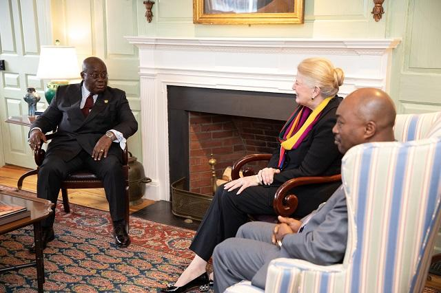 President Akufo-Addo in conversation with Margot Gill and Emmanuel Akyeampong in the Wadsworth House parlor