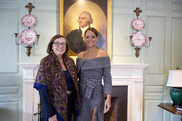 Jackie O'Neill and Rihanna in the Wadsworth House Parlor
