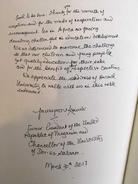 President Kikwete's message in the university guest book