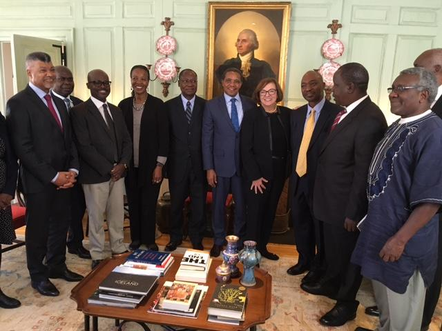 President Kikwete with Jackie O'Neill and delegation in the Wadsworth House Parlor