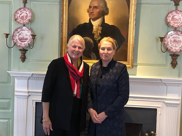 Margot Gill and Tzipi Livni in the Wadsworth House parlor