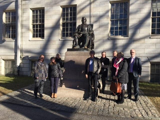 University of Manchester delegation at the John Harvard statue