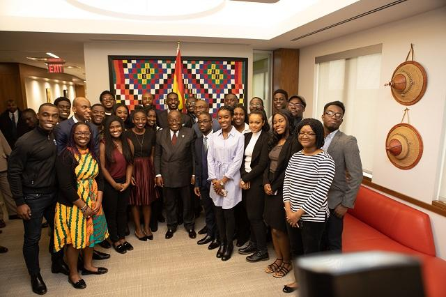 President Akufo-Addo with students at the Center for African Studies