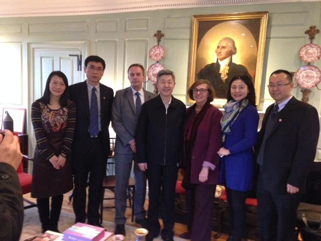 Chairman Zhang Maizeng (center) with the Vice Provost (to his left) and University Marshal (to his right) and colleagues in the Wadsworth House Parlor