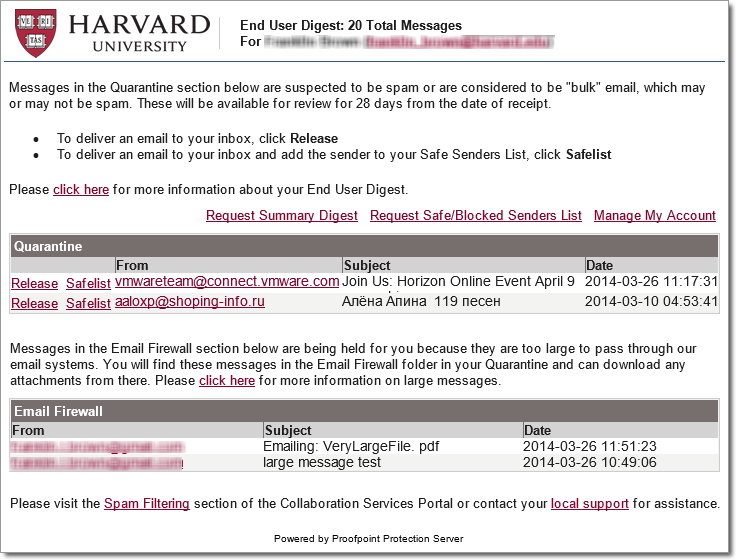 Your Proofpoint End User Digest | Office 365 for Harvard