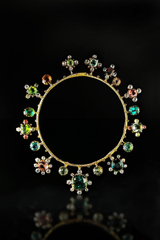 Necklace with gems.