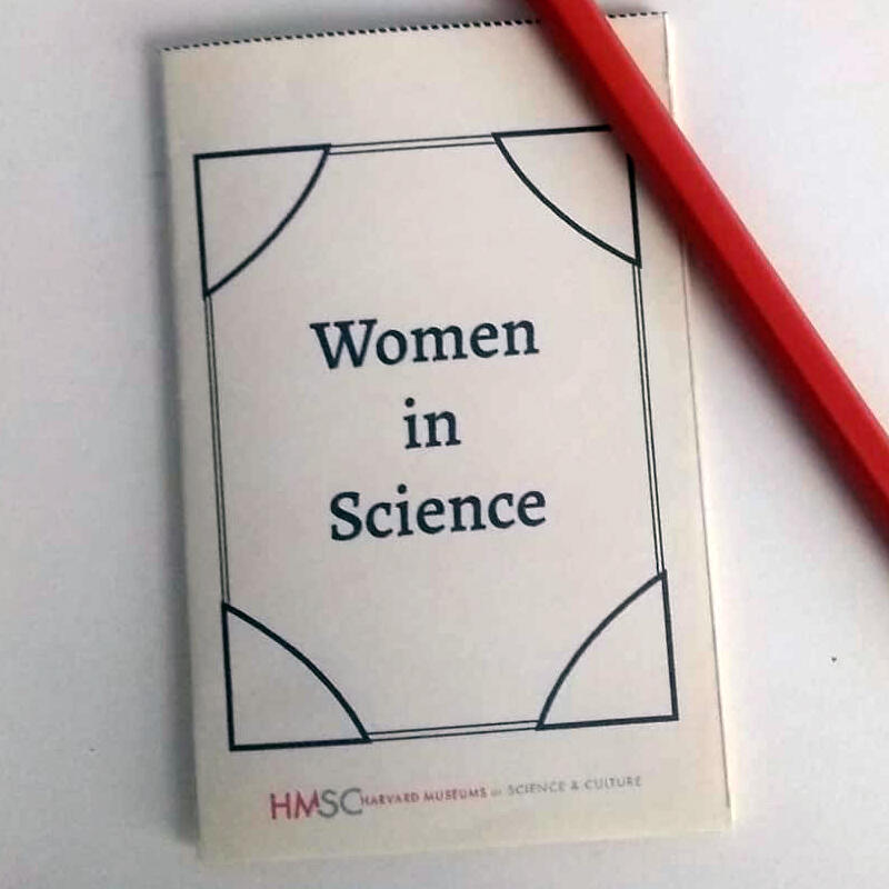 "Mini booklet with ""Women in Science"" text on the cover."