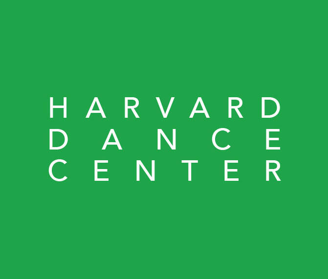 "Graphic that is a Kelley Green square with white text that reads ""HARVARD DANCE CENTER"" with each word on stacked on a separate line."