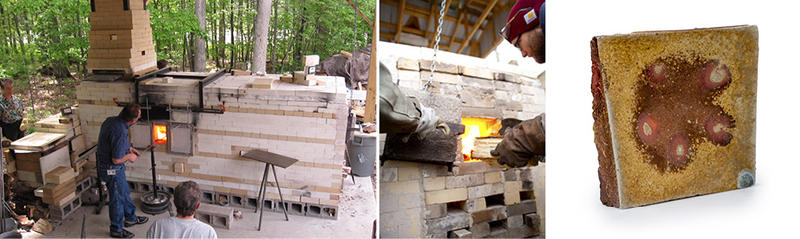 "three images, from Left to right: Corning Museum of Glass gaffer Lewis Olson reheating a glass piece at the kiln; Fred Herbst stoking the CCC kiln; sculpture by Fred Herbst, ""Diamond Wave"" woodfired pressmolded stoneware, 2017"