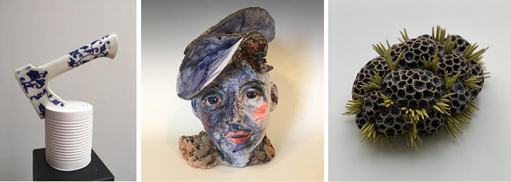 Left to Right: Work by Mia Suni, Gretchen Keyworth, Adria Katz
