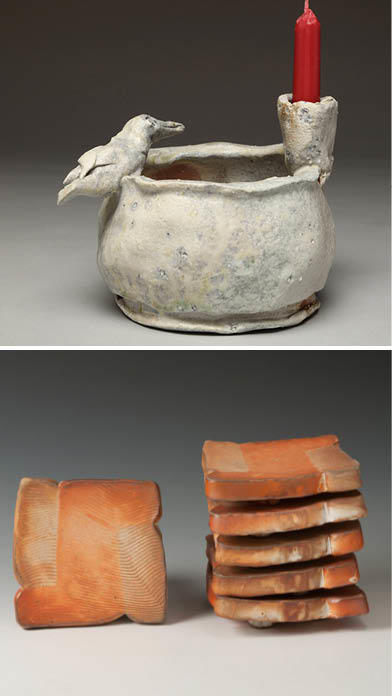 Top: image of a candle holder by George McCauley; bottom, Toast Plates by Linda Christianson