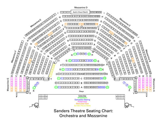 Sanders Theatre Seating Charts | Office for the Arts at Harvard