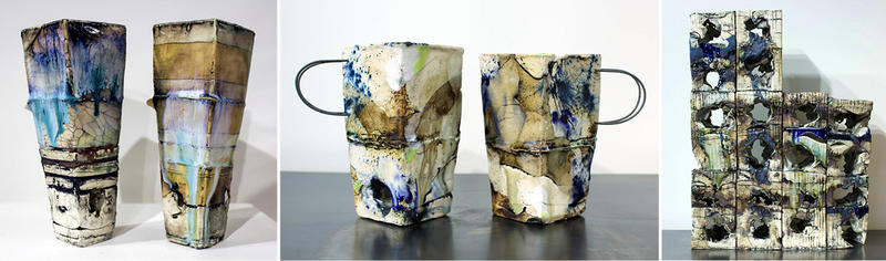 Three images of ceramic work by Sara Henry: two cylinders, two cups with handles, and one stacked, rectangular sculpture