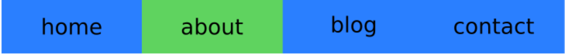 Menu of four links. All are blue with black text except the second which is green.