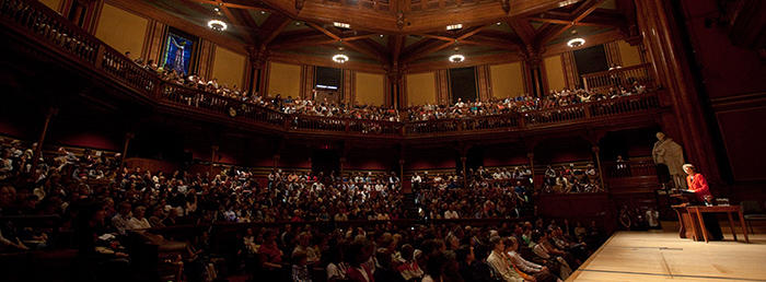 sanders theatre during frehsmen parents weekend