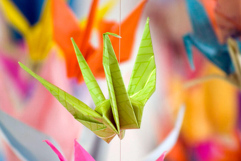 Photo of a colorful origami crane